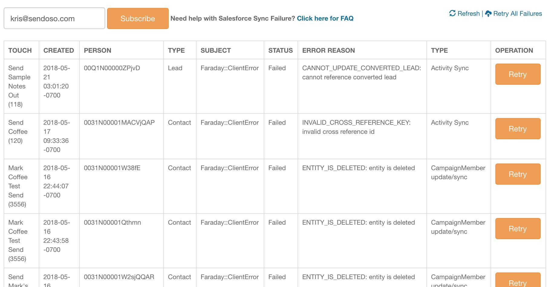 Salesforce Sync Logs & Common Failures – Sendoso